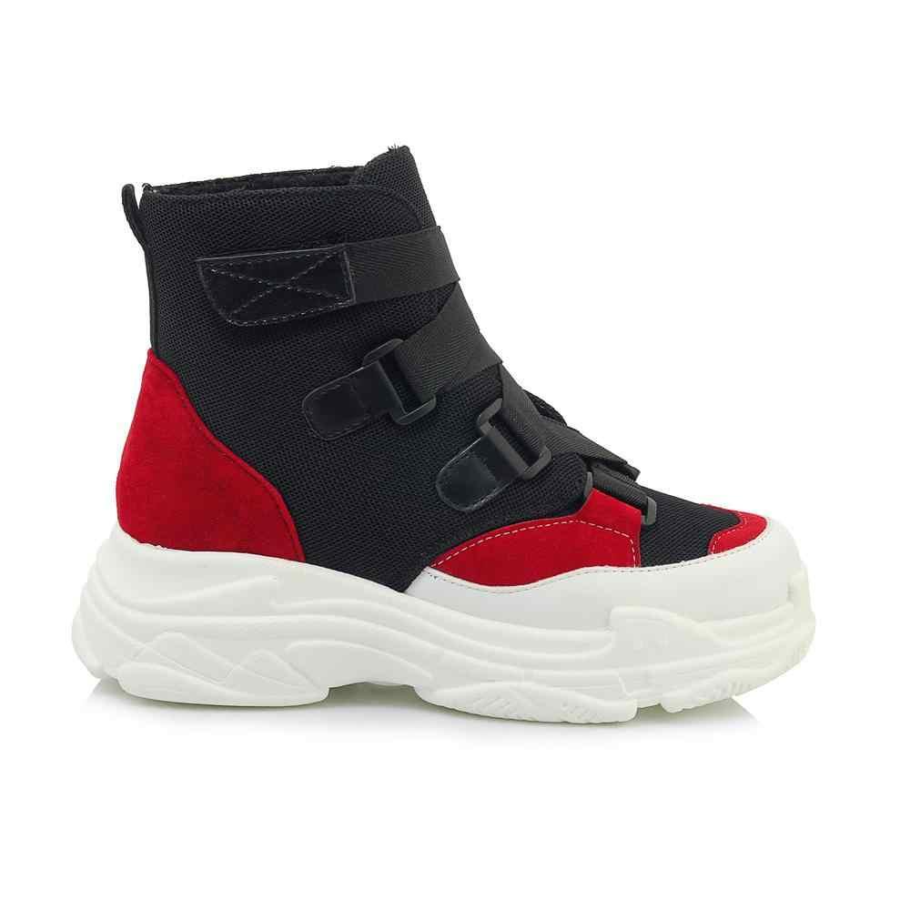 2018 yeni varış büyük boy toka askı platformu yuvarlak ayak kadın yarım çizmeler rahat ofis bayan karışık renk sıcak kış ayakkabı l49
