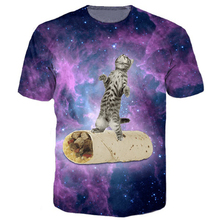 Burrito Cat Tee Kitten Gliding On a Burrito 3d Galaxy T Shirt Space Tees Women tops