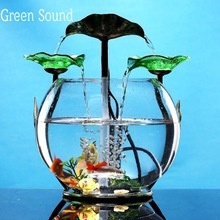 Glass Fish Tank Running Water Fountain for Living Room Desk Top Money Humidifier