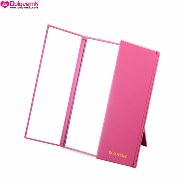Tri Fold Ajustable Led Iluminado Espejo De Viaje 8 LEDs Pantalla Táctil Rosa Espejo de maquillaje Espejo de Bolsillo Compacto para belleza Maquillaje