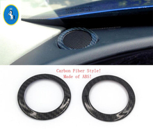 Yimaautotrims Carbon Fiber Style Dashboard Stereo Speaker Audio Sound Frame Ring Cover Trim For Jaguar F-Pace 2017 - 2019 ABS