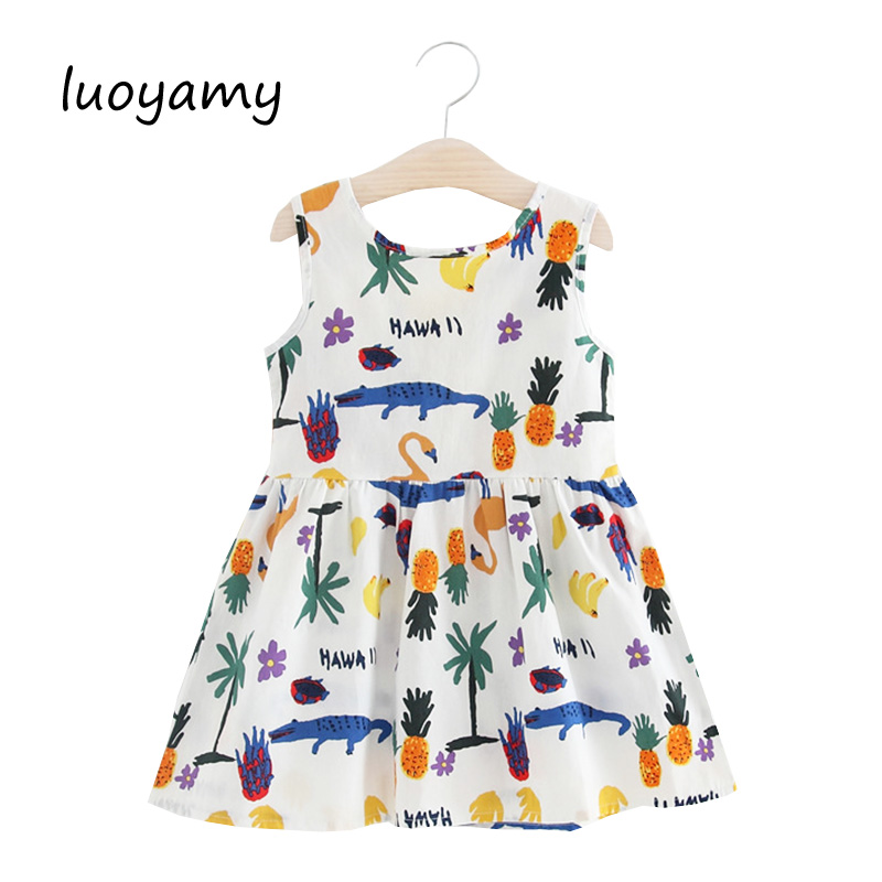 luoyamy Girls Baby Summer Style Cartoon Printed Dress Kids Beach Clothing Princess Children Casual Dot Dresses for 2-9 Years ladybird appliques dress wholesale clothing for girls princess baby boutique o neck clothes children polka dot dresses 6pcs lot