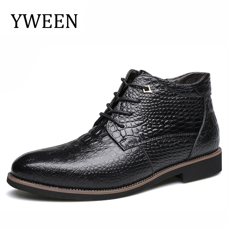 YWEEN Brand 2017 Autumn Winter Plush Retro Men Boots Comfortable Brand Casual Shoes Genuine Leather Snow