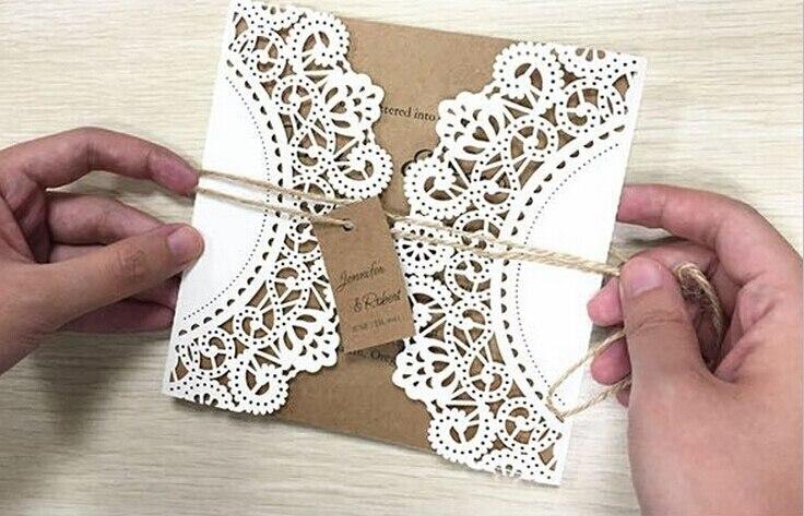 Vestuvių kvietimas, baltų nėrinių kvietimo kortelės - - Šventės ir vakarėliai - Nuotrauka 3