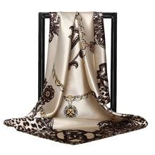 Print Satin Silk Scarf Female 90x90cm Square Wrap Shawl Bandana Head Large Hijab Scarfs For Ladies Scarves for Women A26