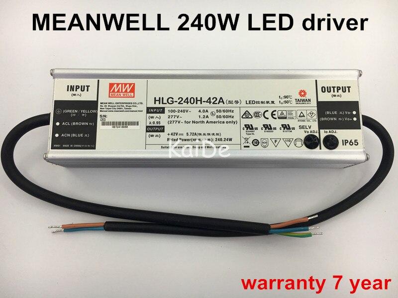 Authentique Taiwan meanwell alimentation 200w240w led pilote de sortie 30V36V42V48V led lampadaire projecteur highbay pilote