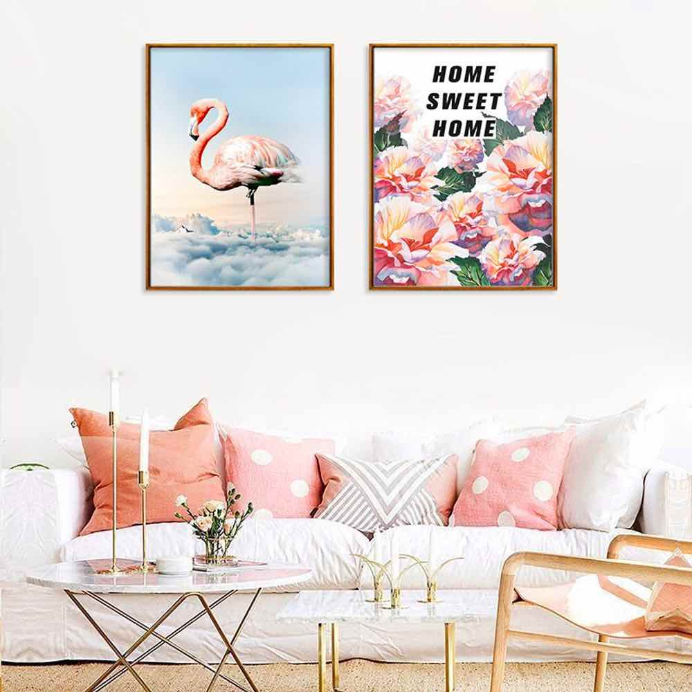 HAOCHU Cartoon Flamingo Poster For Living Room Home Decor Painting Print Poster Simple Nordic Wall Picture Canvas Painting