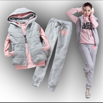 Casual set with a hood fleece sweatshirt three pieces set