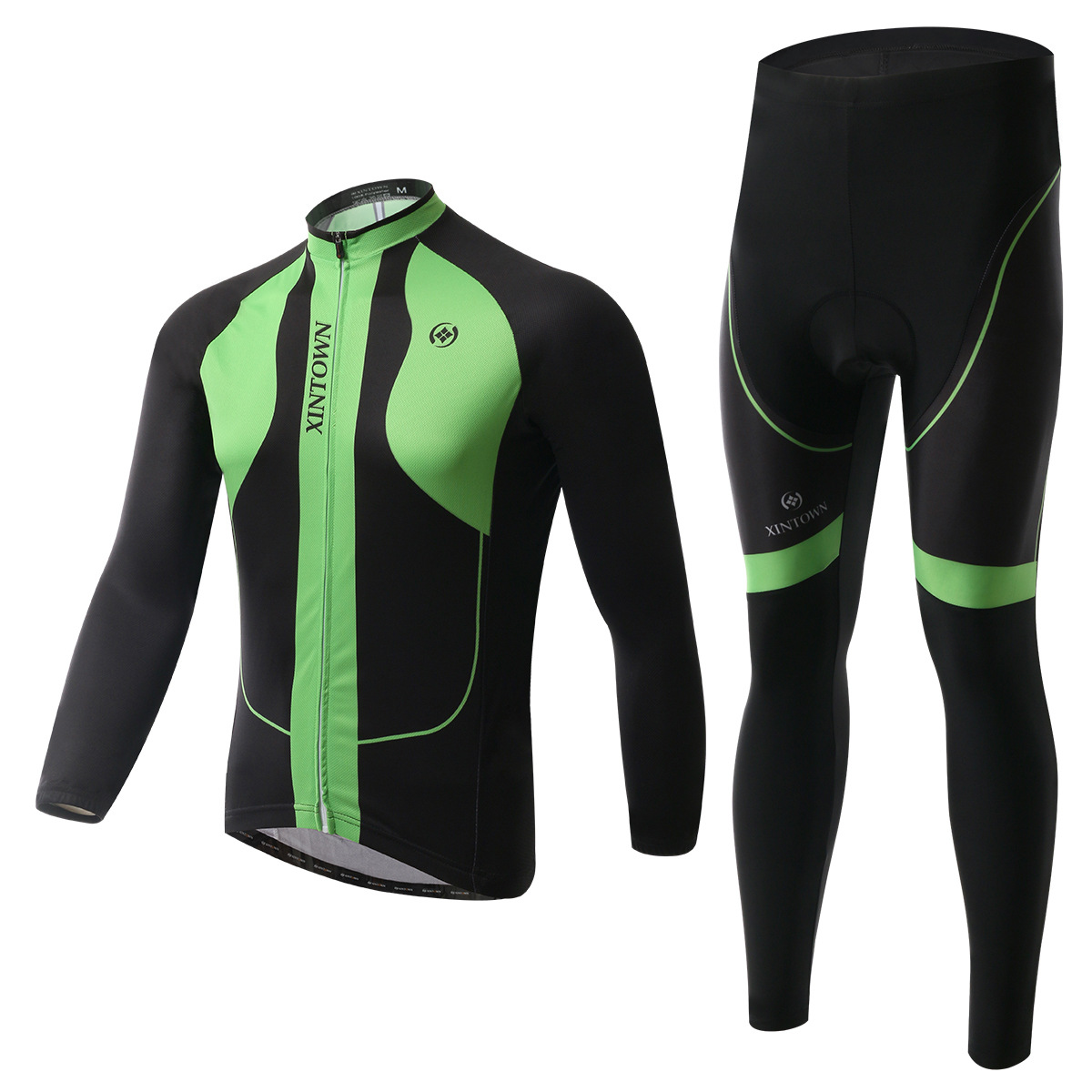 XINTOWN Long green riding Jersey long sleeve suit bicycle suits spring autumn moisture perspiration quick-drying clothing pants