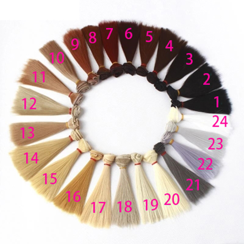 1pcs 15cm 100cm Straight wigs Shallow gold card hair for font b dolls b font 1