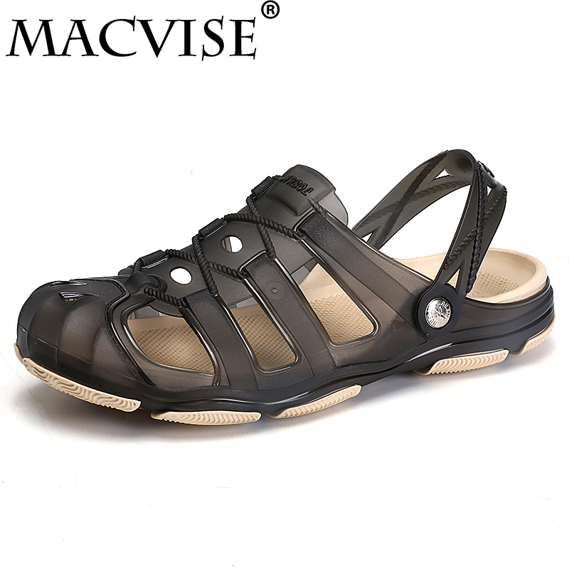 2018 New Mens Summer Slippers Shoes Croc Beach Sandals Casual Flat Slip-On Flip Flops Men Hollow Jelly Shoes
