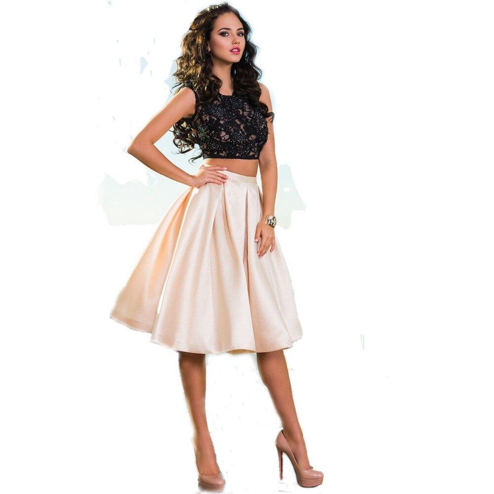 Lace Satin Two Piece Short Prom Dresses 2017 Vestido De