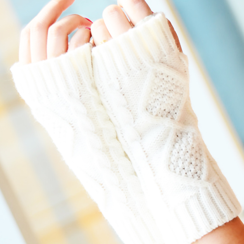 Fashion Winter Short Arm Fingerless Gloves Solid 20CM Knit Warmer Spring Wool Mitten Knitting Gloves