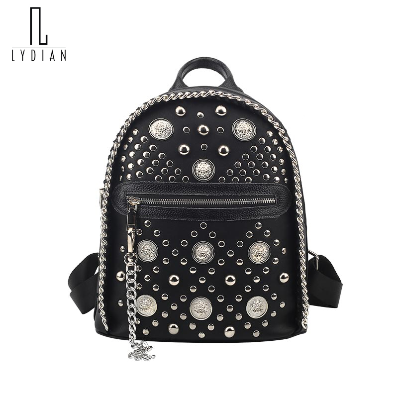 LYDIAN Chain Fashion Small Women Backpack Rivet Zipper Pu Punk Rock Student Backpack Cool Style shoulder