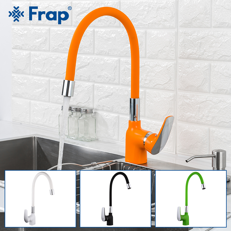 FRAP Kitchen Faucet 4 Color Silica Gel Nose Kitchen Sink Faucet Mixer Faucet Water Taps Mixer Modern Deck Mounted Tapware