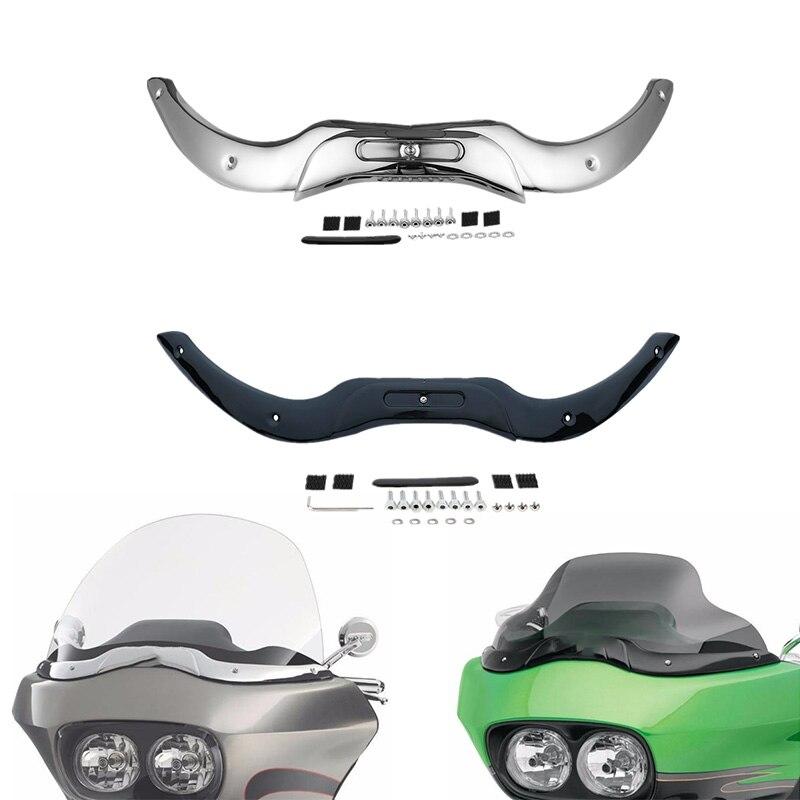 Garniture de pare-brise de moto pour Harley Touring CVO modèles de glisse de route Ultra personnalisés 2004-2013 Chrome noir