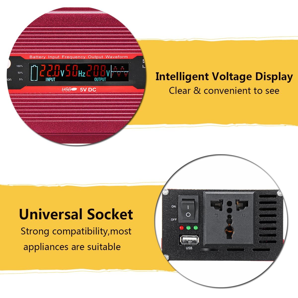 Pic 3000 W 12/24 V à AC 220/110 V voiture onduleur USB modifié convertisseur à onde sinusoïdale faible bruit transformateur de tension Multiple - 4
