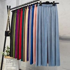 Image 4 - Calça larga feminina vintage, calça feminina de cintura alta comprimento total plissada, macia e solta para verão e primavera, nova moda, 2019 calças para senhoras