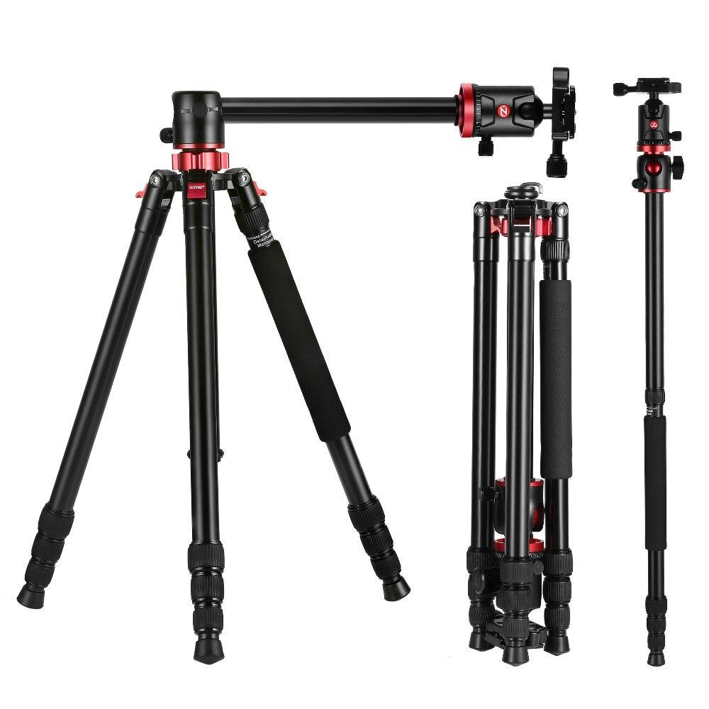 Zomei m8 tripé de câmera monopé de alumínio magnésio portátil profissional tripé suporte liberação rápida placa para câmeras dslr