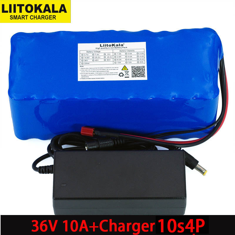 Liitokala 36V 10000mAh 500W High Capacity 18650 Lithium Battery Motorcycle Electric Car Bicycle Scooter with BMS+ 2A ChargerLiitokala 36V 10000mAh 500W High Capacity 18650 Lithium Battery Motorcycle Electric Car Bicycle Scooter with BMS+ 2A Charger