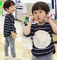 Roupa dos miúdos criança encabeça crianças manga longa assentamento camisas de t para meninos camisetas urso