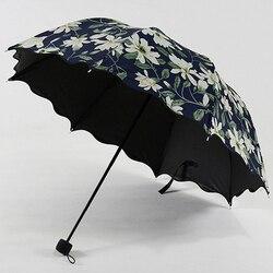 2019 New Arrival wysokiej jakości wzór lilii kobiet parasol UV dowód parasolka parasole czarna powłoka kobiet Paraguas US043