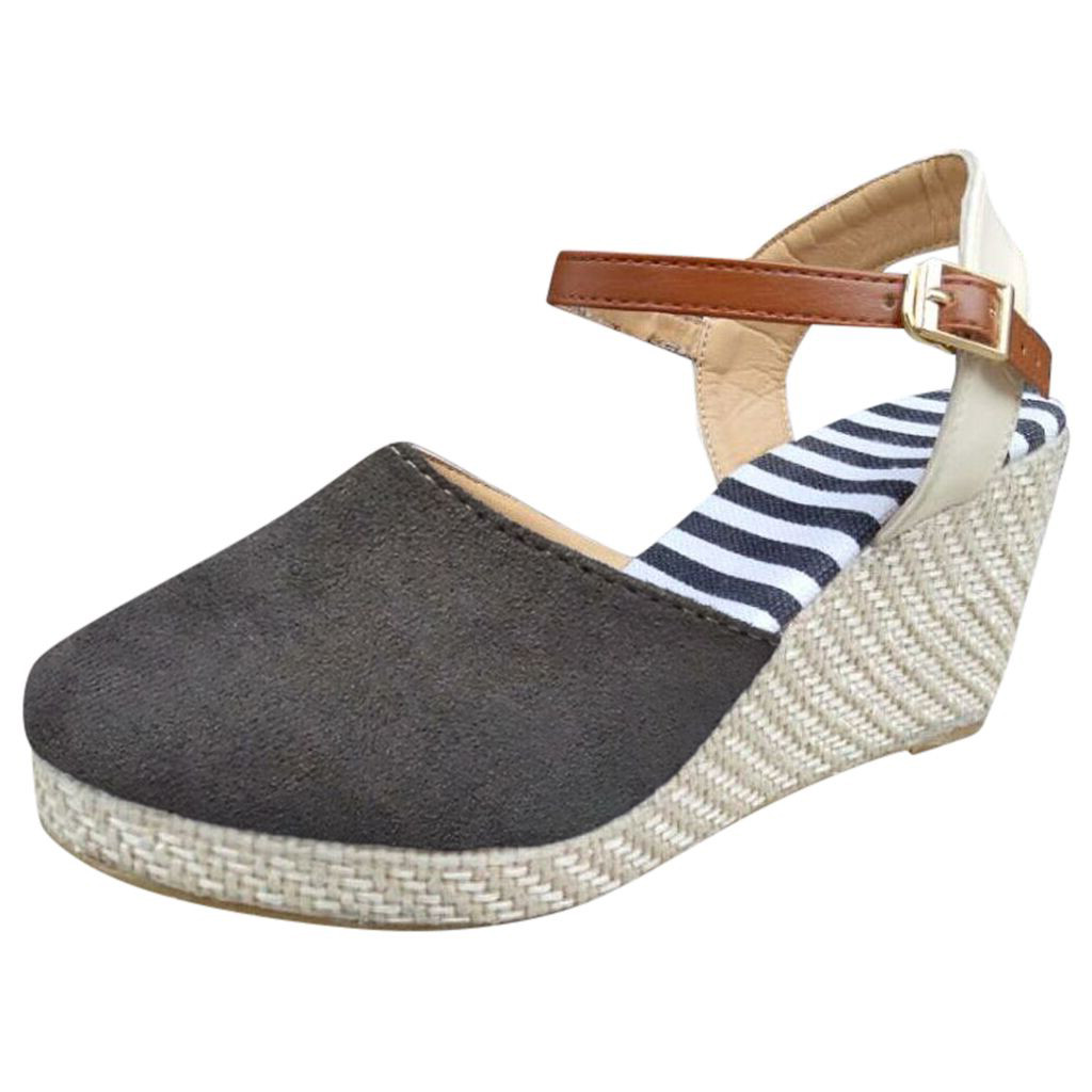 Sandals Ethnic Mid-Heel Wedge-Shoes Espadrilles Ankle-Strap Women's Thick-Bottom Large-Size