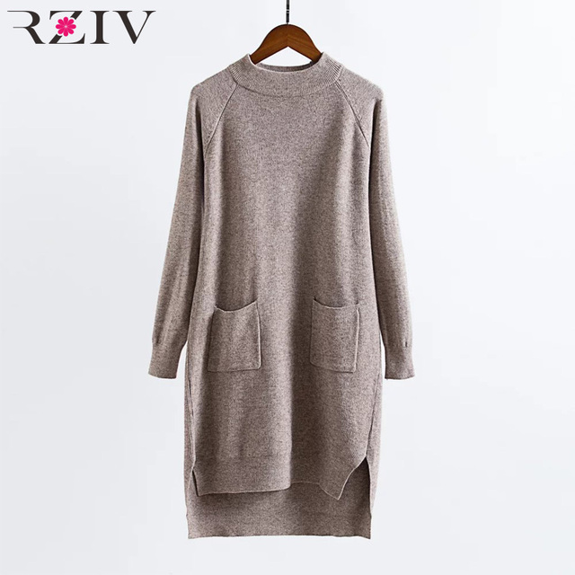 RZIV 2016 winter sweater casual pocket long sweater asymmetry women sweaters and pullovers long sleeve sweater women tops