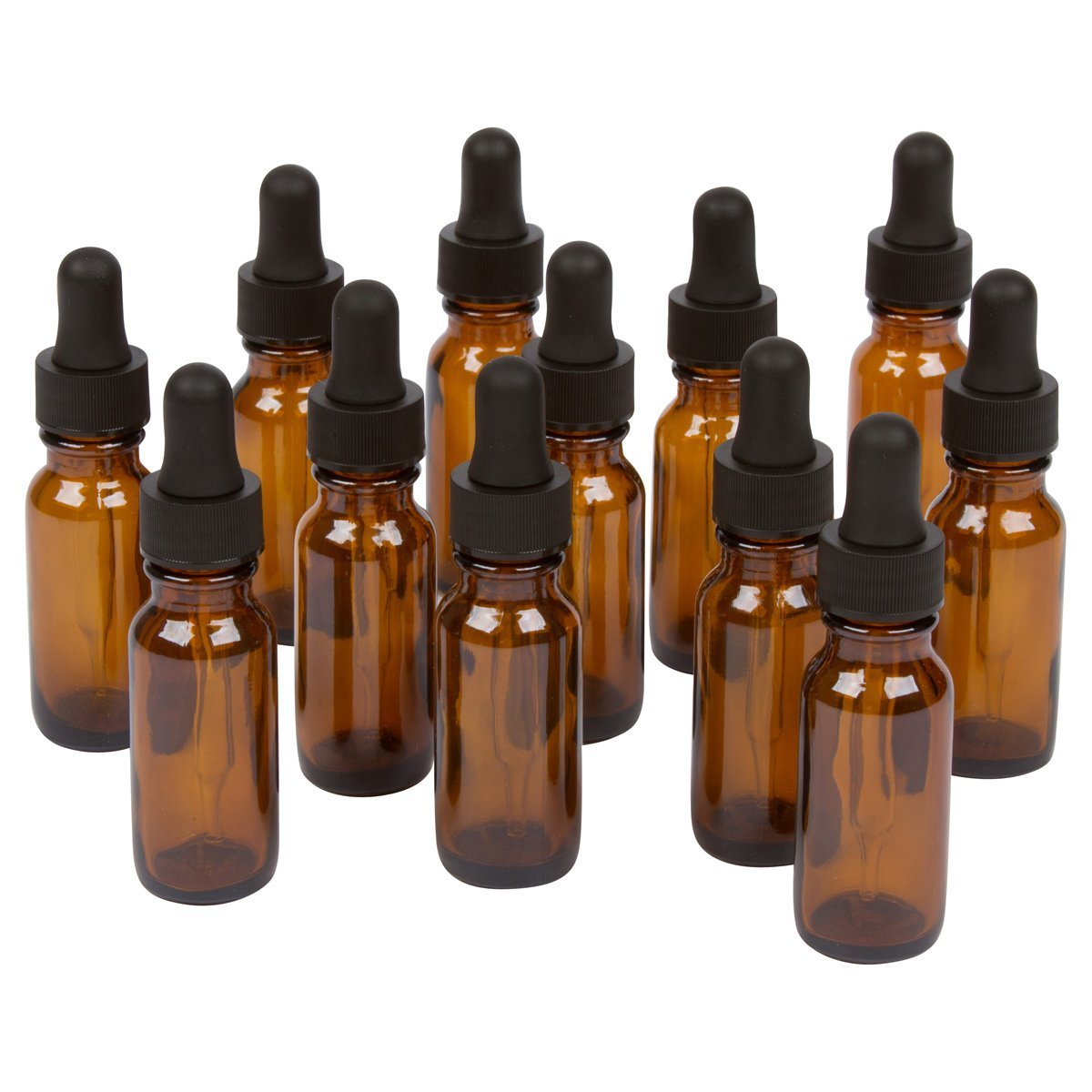 Amber Round Bottles for Essential Oils and Liquids with Black Rubber Bulb Glass Droppers, 15 ml, Pack of 12 image