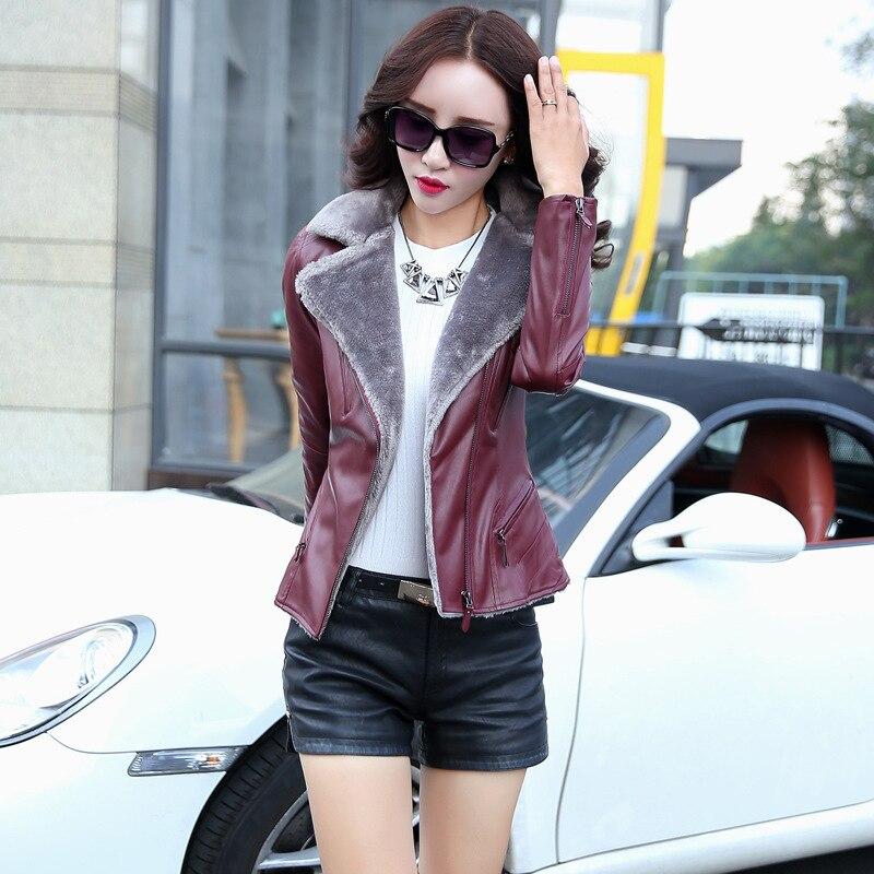 Leather coat lady Women Fashion Fall PU coat 2018 Korean stitching locomotive Slim winter fur Faux Leather Parkas Padded Jacket