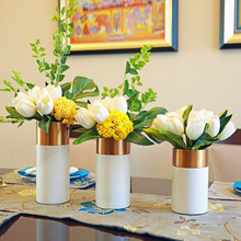 Modern creative Marble Aluminum alloy Dried flowers vase home decor crafts room decoration study office metal figurines