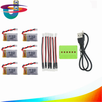 6Pcs 3 7V 260mAh 2 0 Connector Lipo Battery And X6 Charger For Eachine E010 JJRC