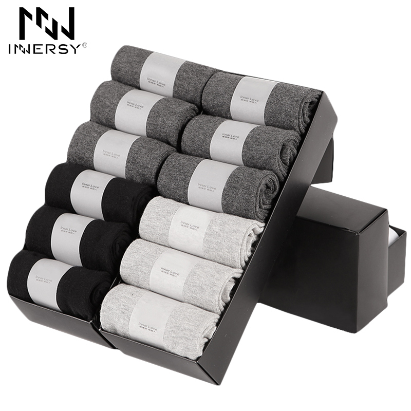 Innersy 2017 Brand 12Pcs/lot Socks Men Socks Breathable Deodorize Socks Cotton Boys Business Socks Casual Wear Pure Color ...