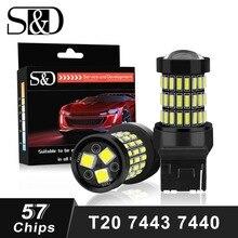S&D 2pcs T20 7440 W21W WY21W LED 7443 SRCK W21/5W LED Bulbs 12V Car Lights Turn Signal Brake Reverse Tail Lamp Auto 1200LM