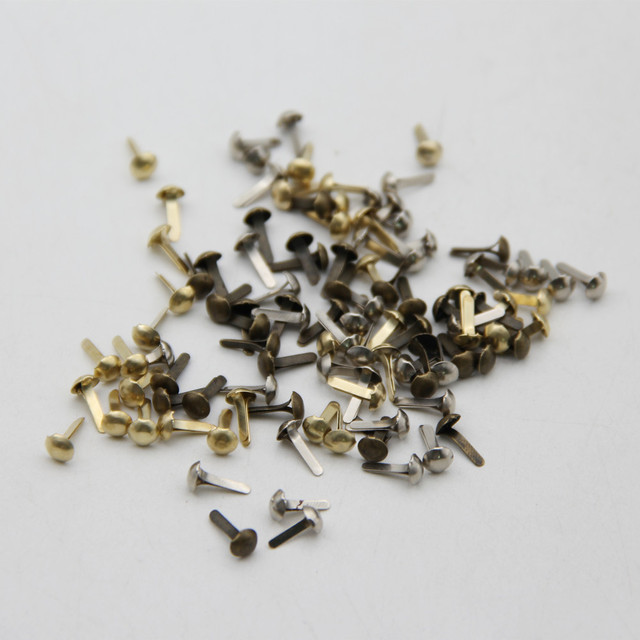 100pcs 4.5mm Mixed 3 Colors Iron Round Metal Mini Brads For Scrapbooking Accessories Embellishment Fastener DIY Handmade Crafts