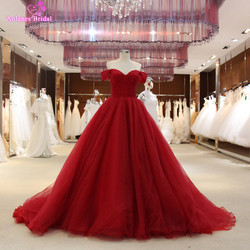 2017 burgundy ball gown prom dresses off the shoulder long puffy prom dresses princess 100 real.jpg 250x250