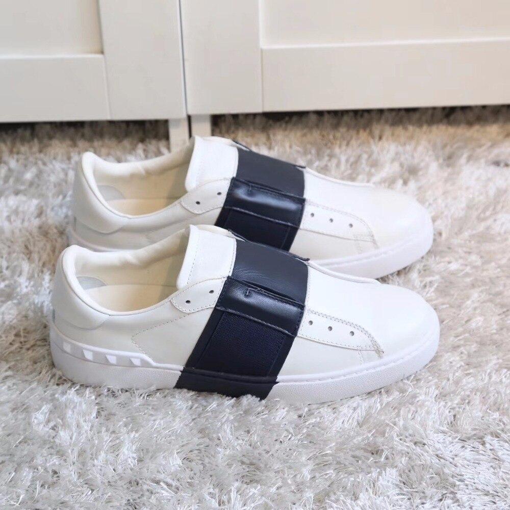 Shaduo любителей моды заклепки украшения на шнуровке натуральная кожа белые туфли модные спортивные комфорт relax совета обувь