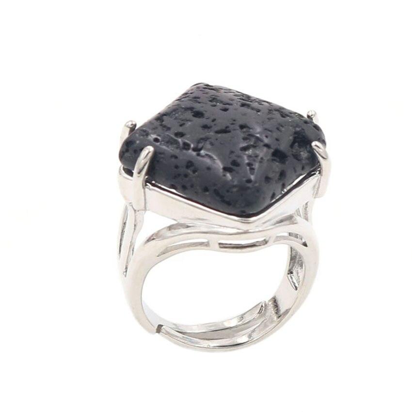 YJXP Silver Plated Rhombus Shape Black Lava Stone Adjustable Finger Ring Engagement Jewelry