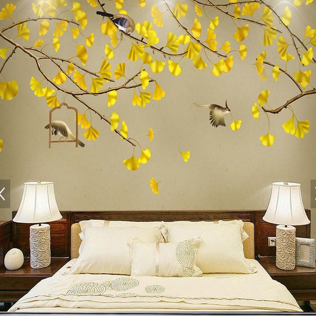 Wallpaper Birds Gingkgo Leaves Entrance Murals Modern Wallpapers For Living  Room TV Background Wall Paper Murals