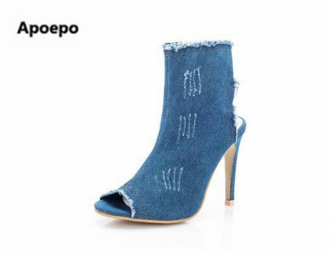 Apoepo brand women shoes blue denim shoes peep toe high heels ankle boots for women Western cowboy boots Low price drop shipping women shoes high heels high boots with fine denim women s boots