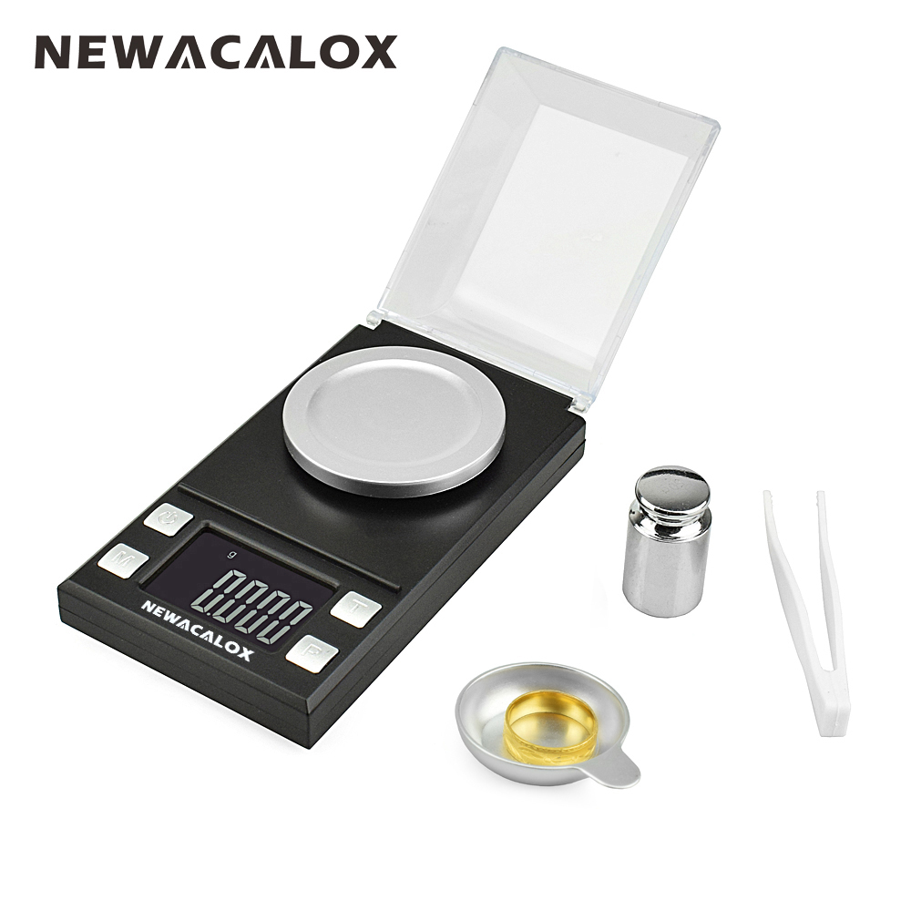 NEWACALOX 50g/0.001g LCD Digital Jewelry Scales Lab Weight High Precision Scale Medicinal Use Portable Mini Electronic Balance 100g 0 1g lab balance pallet balance plate rack scales mechanical scales students scales for pharmaceuticals with weight tweezer