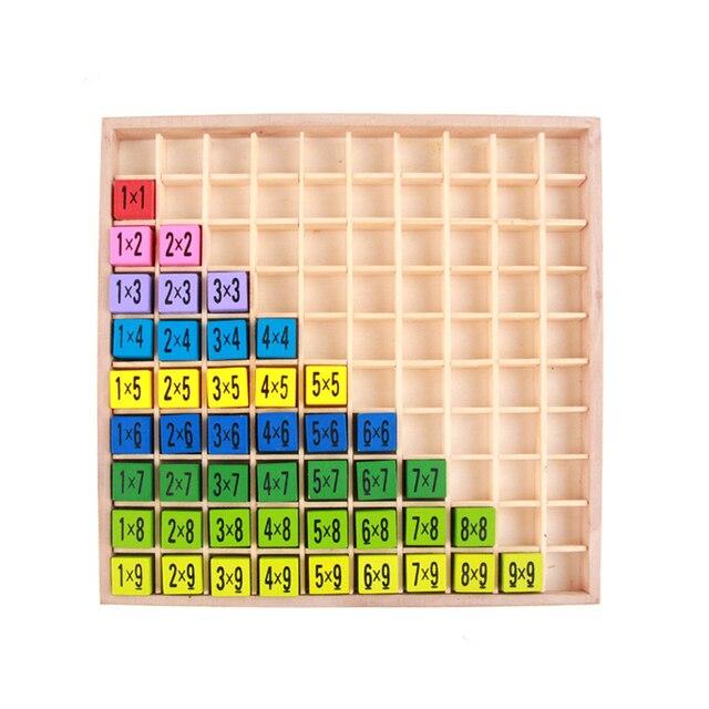 Mesa para niños juegos de matemáticas aritméticos Montessori juguetes educativos de madera 99 mesa de multiplicación matemáticas aritmética para niños juegos de mesa