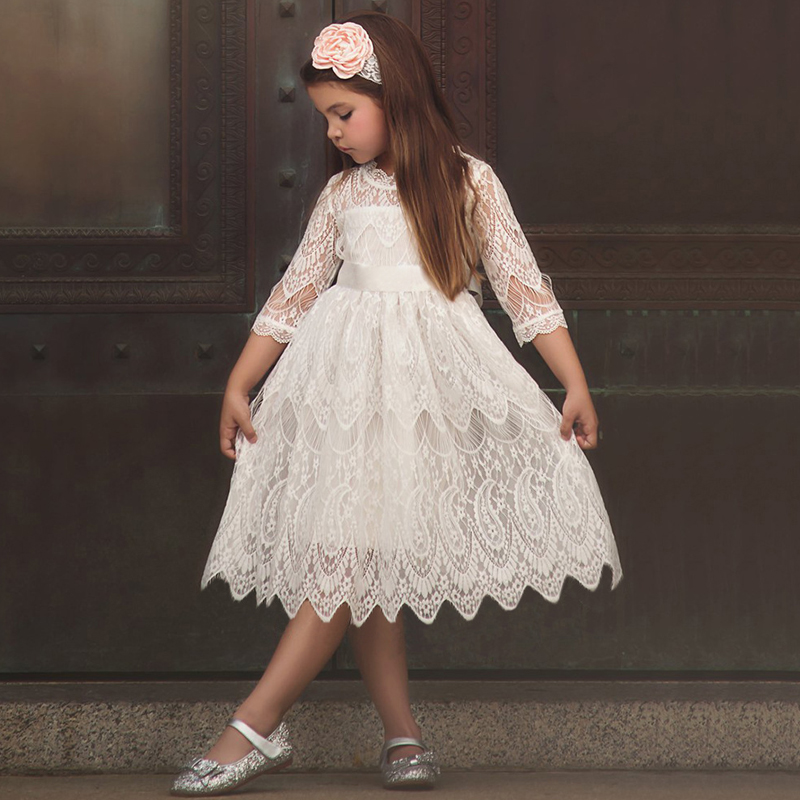 New 2018 Lace Long Sleeve Dress For Children Wedding Party Prom Costume Red    White Floral Embroidery Girl Dresses Kids Clothing-in Dresses from Mother  ... b0f7f01d73b6