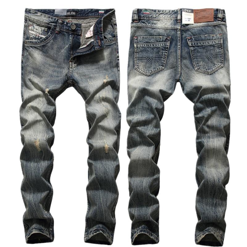 New 2017 Mens Slim Jeans Ripped Pants Original Brand Jeans Denim Trousers With Logo Mid Stripe Waterwash Jeans Men W708 fashion slim straight dark jeans men mid stripe mens jeans ripped denim trousers new famous brand biker jeans a625