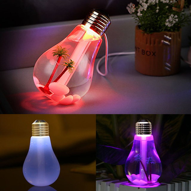 LED Lamp Air Ultrasonic Humidifier for Home Essential Oil Diffuser Atomizer Air Freshener 400ml