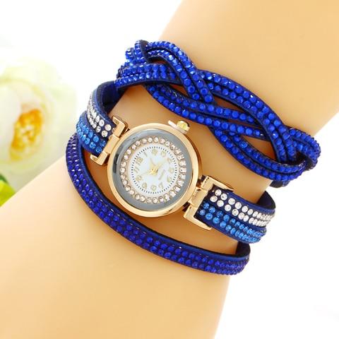 Women's Bracelet Watches Fashion Jewelry Watches Luxury Rhinestone Plated Leather Strap Multilayer Watches Women Pakistan