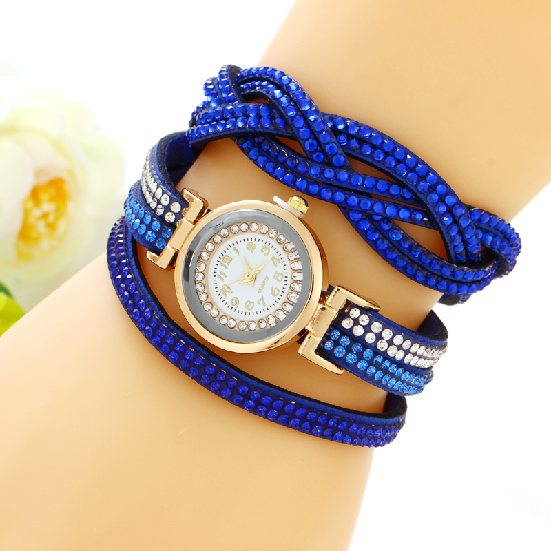Women's Bracelet Watches Fashion Jewelry Watches Luxury Rhinestone Plated Leather Strap Multilayer Watches Women