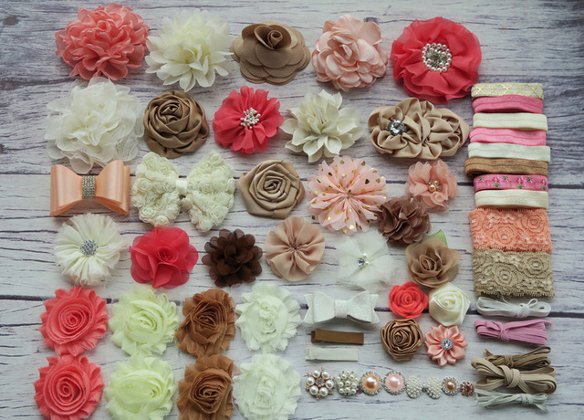 Deluxe DIY accessories kits set ,Baby Shower Headband, shabby flowers Rose hair bow Trim ,Birthday christmas day gift  S31