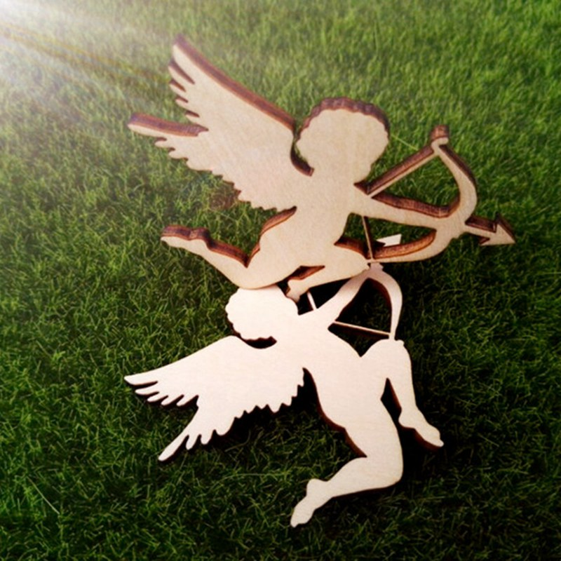 24pcs/set wholesale high quality angel die cutting Angle of wooden decoration wedding holiday decoration 68*50mm 1227