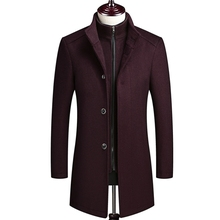 Plus Size 4XL Quilted Mens Jackets Wool Trench Coat Men Fashion High-end Business Casual Winter Coats
